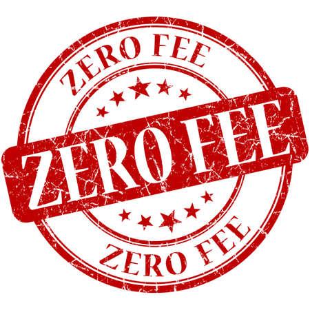 honorarios: tasa cero grungy sello circular aislada vendimia roja