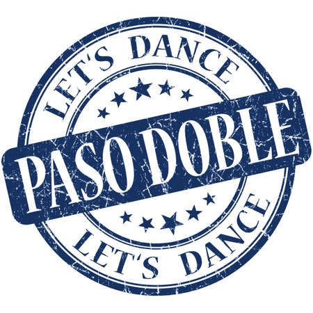 paso doble: paso doble blue vintage grungy isolated round stamp
