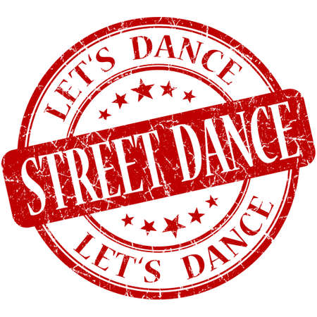 street dance: street dance red vintage grungy isolated round stamp Stock Photo