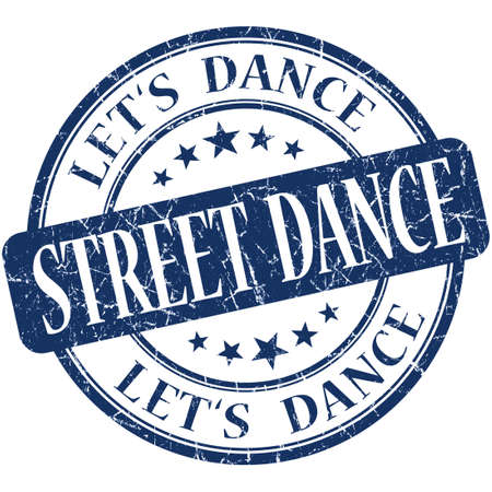 street dance: street dance blue vintage grungy isolated round stamp