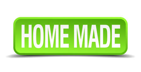 home made: home made green 3d realistic square isolated button