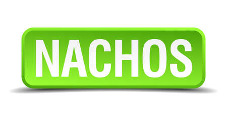 nachos: Nachos green 3d realistic square isolated button