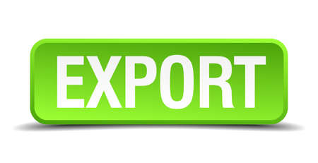 exporter: Export green 3d realistic square isolated button