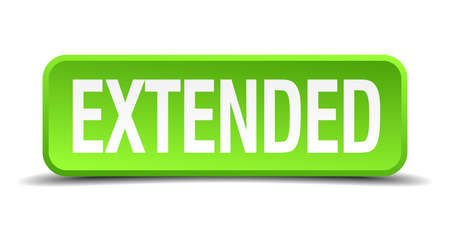 extensively: Extended green 3d realistic square isolated button Illustration