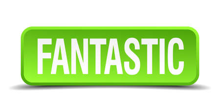 sensational: Fantastic green 3d realistic square isolated button