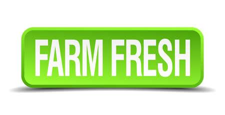 farm fresh: fattoria 3d pulsante verde fresco realistico quadrato isolato Vettoriali