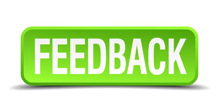 Feedback green 3d realistic square isolated button Vector