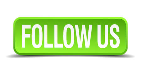 follow us green 3d realistic square isolated button Çizim