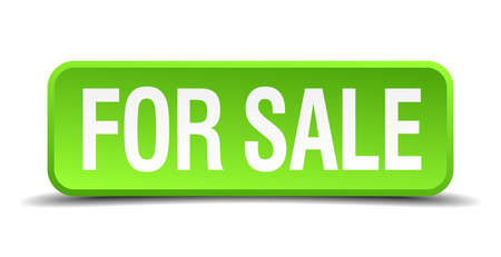 for sale green 3d realistic square isolated button Vector