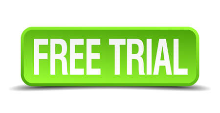 affliction: free trial green 3d realistic square isolated button