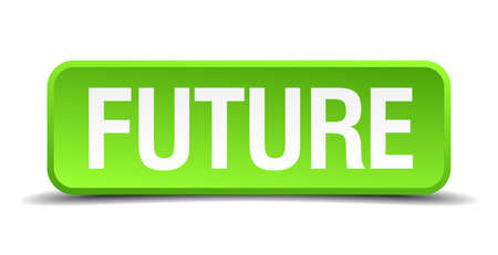 impending: Future green 3d realistic square isolated button