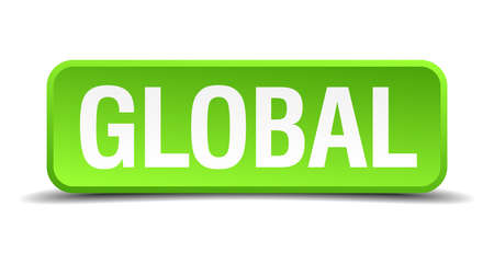 globally: Global green 3d realistic square isolated button