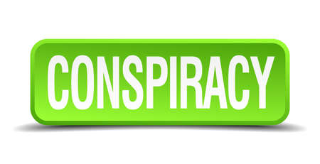 intrigue: Conspiracy green 3d realistic square isolated button