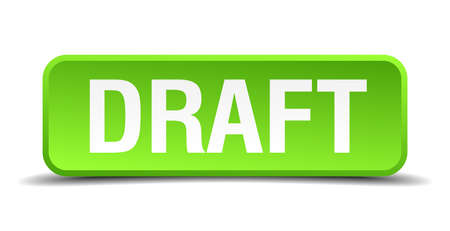 conscription: Draft green 3d realistic square isolated button