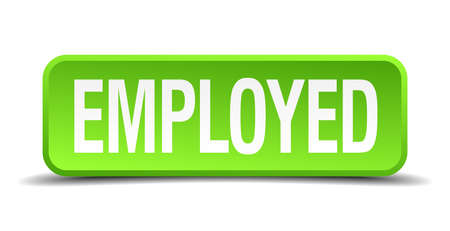 absorbed: Employed green 3d realistic square isolated button Illustration