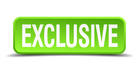 excluding: Exclusive green 3d realistic square isolated button