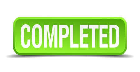 completato: 3d pulsante realistico verde Completato quadrato isolato