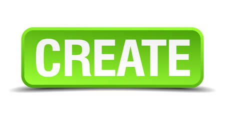 demonstrate: Create green 3d realistic square isolated button Illustration