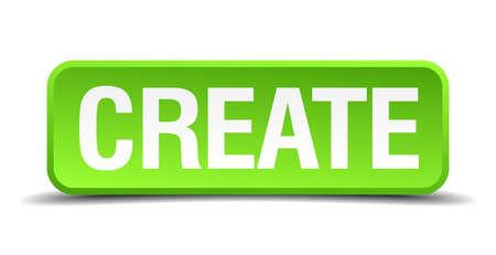originate: Create green 3d realistic square isolated button Illustration