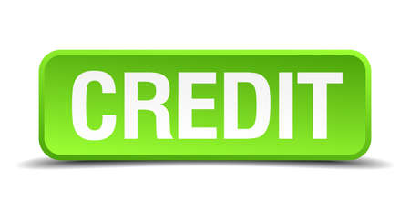 discredit: Credit green 3d realistic square isolated button