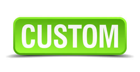 customs and habits: Custom green 3d realistic square isolated button
