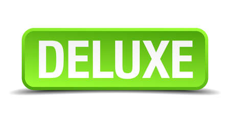 voluptuous: Deluxe green 3d realistic square isolated button Illustration