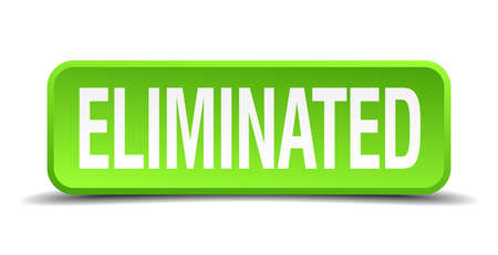 assassinate: Eliminated green 3d realistic square isolated button
