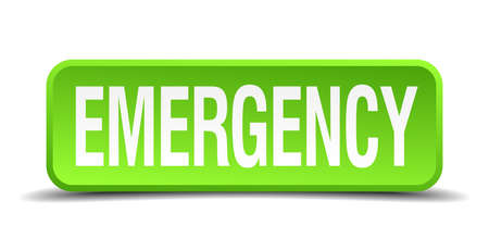 extremity: Emergency green 3d realistic square isolated button Illustration