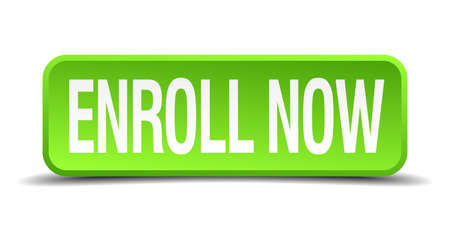 enroll now green 3d realistic square isolated button