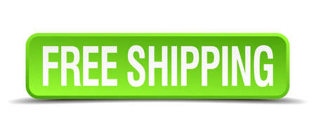 free shipping green 3d realistic square isolated button Vector