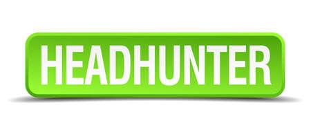 headhunter: headhunter 3d verde pulsante quadrato realistico isolato