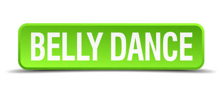 belly dance green 3d realistic square isolated button