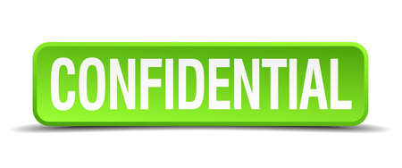 confidentially: confidential green 3d realistic square isolated button