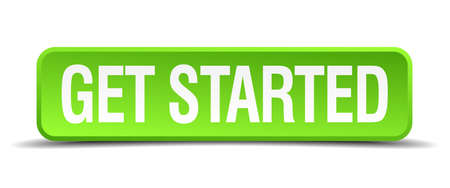 get started green 3d realistic square isolated button