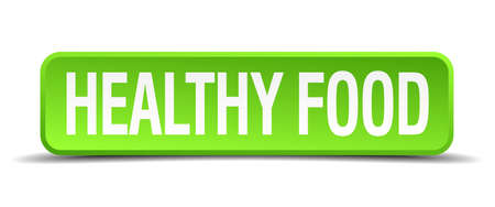 hearty: healthy food green 3d realistic square isolated button