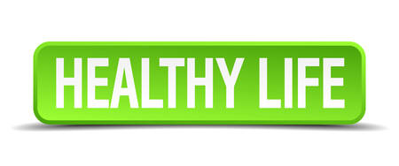 hale: healthy life green 3d realistic square isolated button