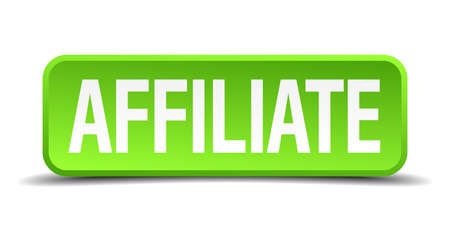 referral: Affiliate green 3d realistic square isolated button