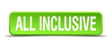 included: all inclusive green 3d realistic square isolated button Illustration