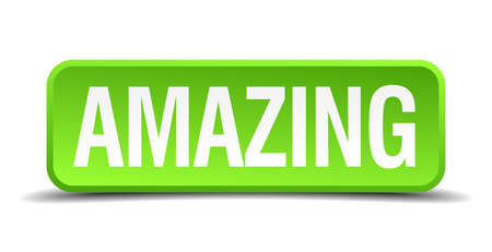 sensational: Amazing green 3d realistic square isolated button