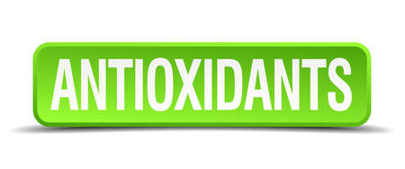 antioxidants green 3d realistic square isolated button