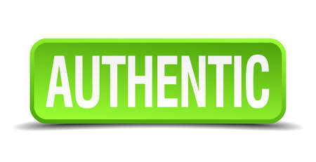 authoritative: authentic green 3d realistic square isolated button Illustration