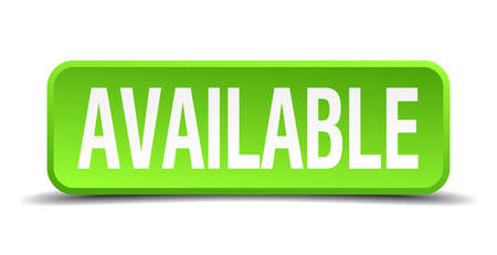 avail: available green 3d realistic square isolated button