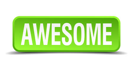 tremendous: awesome green 3d realistic square isolated button