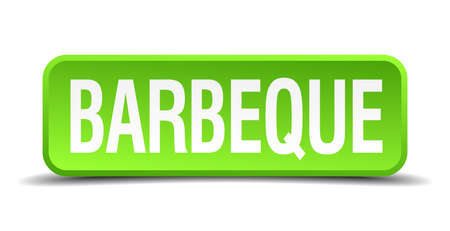 sear: barbeque green 3d realistic square isolated button