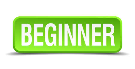 novice: beginner green 3d realistic square isolated button