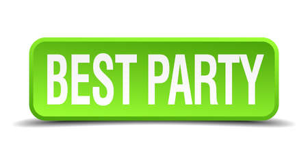 soiree: best party green 3d realistic square isolated button
