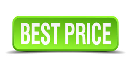 priceless: best price green 3d realistic square isolated button Illustration