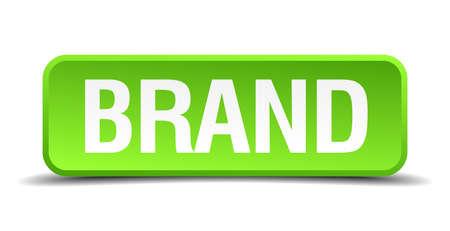 stigma: Brand green 3d realistic square isolated button Illustration
