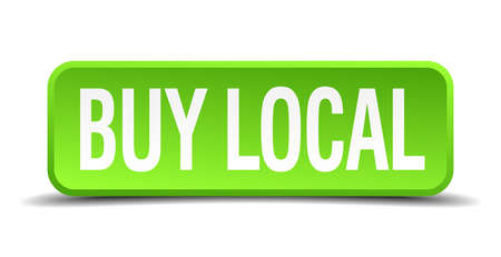 buy local: buy local green 3d realistic square isolated button