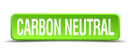 carbon neutral: carbon neutral green 3d realistic square isolated button